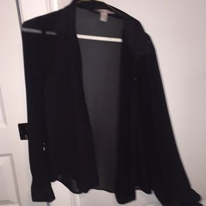 Tops - Sheer black button down shirt